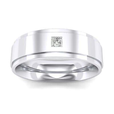 Stepped Edge Single Princess-Cut Diamond Ring (0.08 Carat)