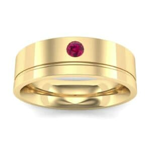 Single Round-Cut Ruby Ring (0.1 Carat)