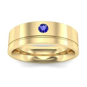 Single Round-Cut Blue Sapphire Ring (0.1 Carat)