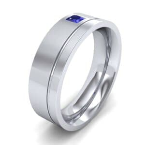 Single Princess-Cut Blue Sapphire Ring (0.12 Carat)