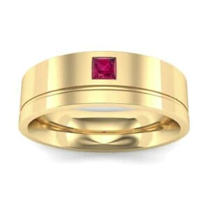 Single Princess-Cut Ruby Ring (0.12 Carat)