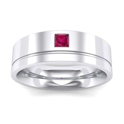 Single Princess-Cut Ruby Ring (0.12 Carat)
