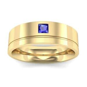 Single Princess-Cut Blue Sapphire Ring (0.12 Carat)