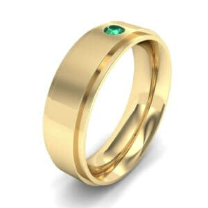 Stepped Edge Single Round-Cut Emerald Ring (0.1 Carat)