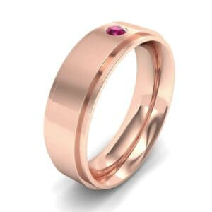 Stepped Edge Single Round-Cut Ruby Ring (0.1 Carat)