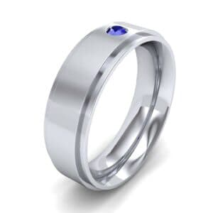 Stepped Edge Single Round-Cut Blue Sapphire Ring (0.1 Carat)
