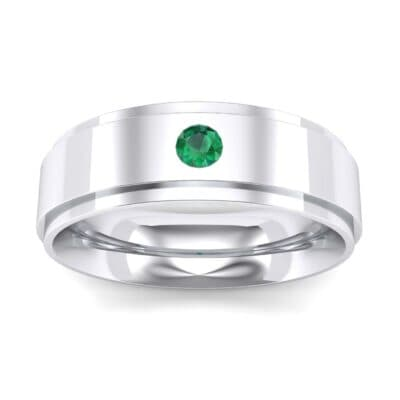Stepped Edge Single Round-Cut Emerald Ring (0.1 Carat)