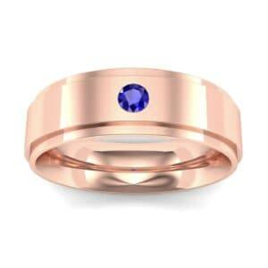 Stepped Edge Single Round-Cut Blue Sapphire Ring (0.1 Carat)
