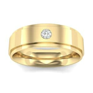 Stepped Edge Single Round-Cut Diamond Ring (0.07 Carat)