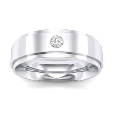 Stepped Edge Single Round-Cut Diamond Ring (0.07 Carat)