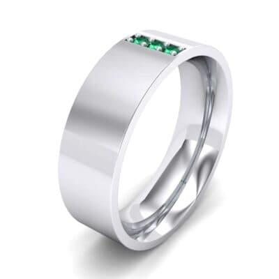 Round Three-Stone Pave Emerald Ring (0.06 Carat)