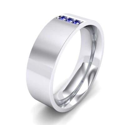 Round Three-Stone Pave Blue Sapphire Ring (0.06 Carat)
