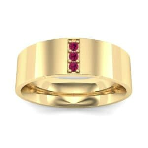Round Three-Stone Pave Ruby Ring (0.06 Carat)