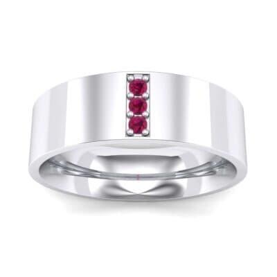 Round Three-Stone Pave Ruby Ring (0.06 Carat)