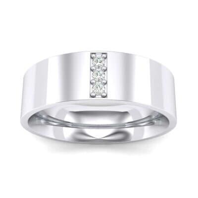 Round Three-Stone Pave Diamond Ring (0.05 Carat)