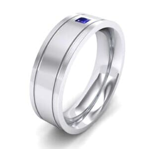 Three-Stone Vertical Channel Blue Sapphire Ring (0.06 Carat)