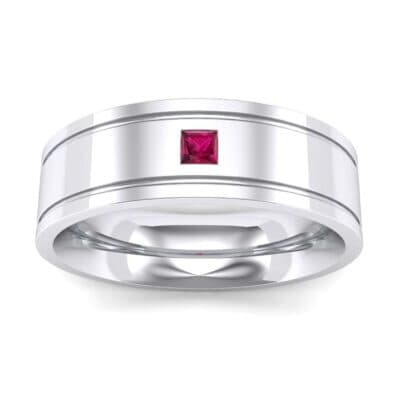 Three-Stone Vertical Channel Ruby Ring (0.06 Carat)