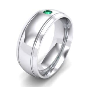 Double Groove Round-Cut Emerald Ring (0.06 Carat)