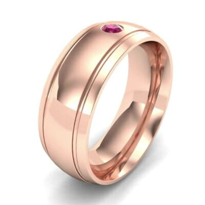 Striped Round-Cut Ruby Ring (0.06 Carat)