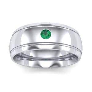 Striped Round-Cut Emerald Ring (0.06 Carat)