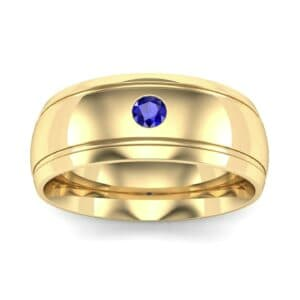 Striped Round-Cut Blue Sapphire Ring (0.06 Carat)