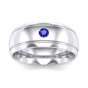 Double Groove Round-Cut Blue Sapphire Ring (0.06 Carat)