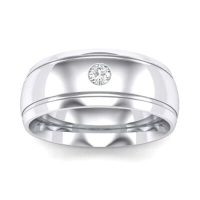 Double Groove Round-Cut Diamond Ring (0.06 Carat)
