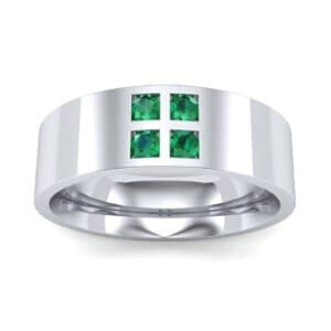 Square Four-Stone Emerald Ring (0.39 Carat)