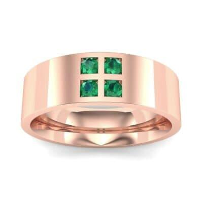 Square Four-Stone Emerald Ring (0.39 Carat)