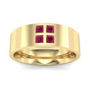 Square Four-Stone Ruby Ring (0.39 Carat)