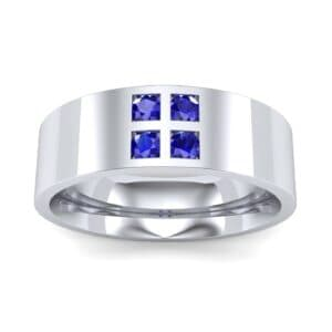 Square Four-Stone Blue Sapphire Ring (0.39 Carat)
