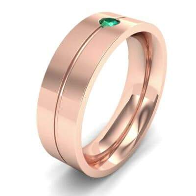 Single Line Round-Cut Emerald Ring (0.1 Carat)