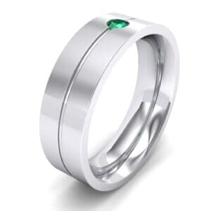 Single Line Round-Cut Emerald Ring (0.1 Carat)