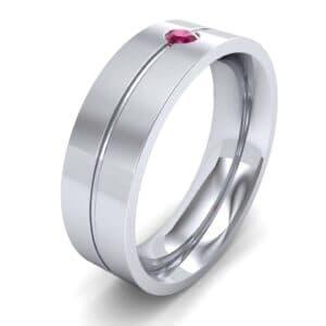 Single Line Round-Cut Ruby Ring (0.1 Carat)