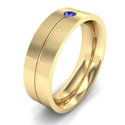 Single Line Round-Cut Blue Sapphire Ring (0.1 Carat)