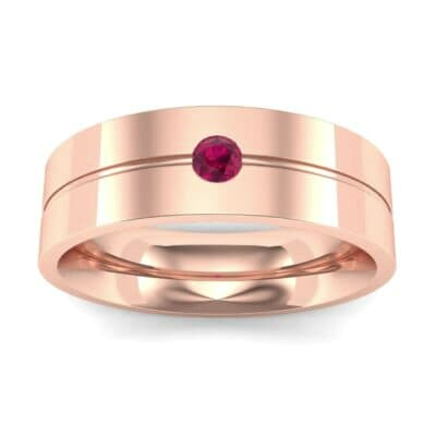 Single Line Round-Cut Ruby Ring (0.1 Carat)
