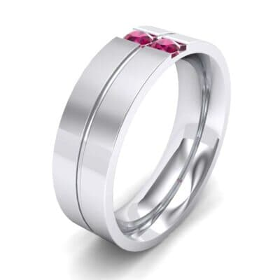 Two-Stone Vertical Channel Ruby Ring (0.19 CTW) Perspective View