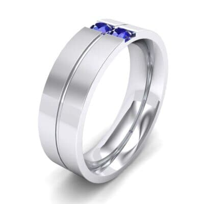 Two-Stone Vertical Channel Blue Sapphire Ring (0.19 CTW) Perspective View