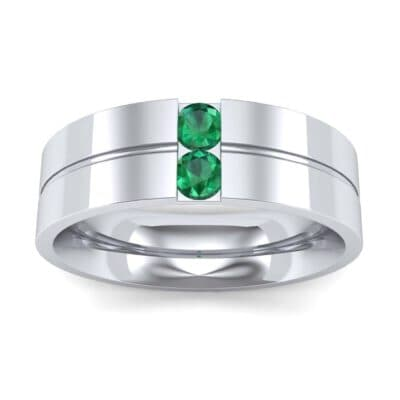 Two-Stone Vertical Channel Emerald Ring (0.19 Carat)