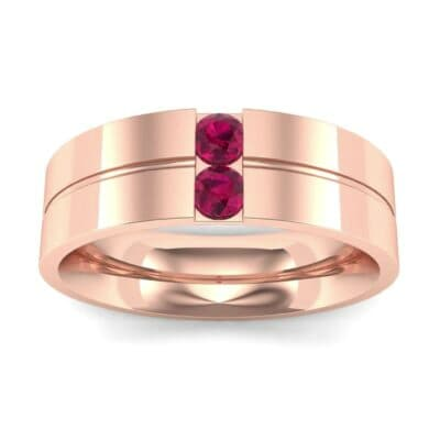 Two-Stone Vertical Channel Ruby Ring (0.19 Carat)