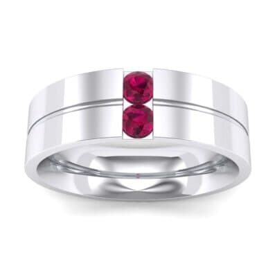 Two-Stone Vertical Channel Ruby Ring (0.19 CTW) Top Dynamic View