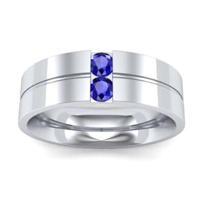 Two-Stone Vertical Channel Blue Sapphire Ring (0.19 Carat)