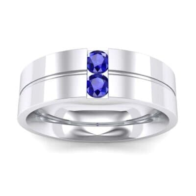 Two-Stone Vertical Channel Blue Sapphire Ring (0.19 CTW) Top Dynamic View