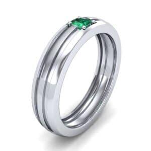 Single Line Round-Cut Emerald Ring (0.19 Carat)