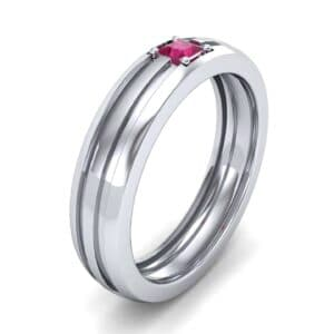 Single Line Round-Cut Ruby Ring (0.19 Carat)