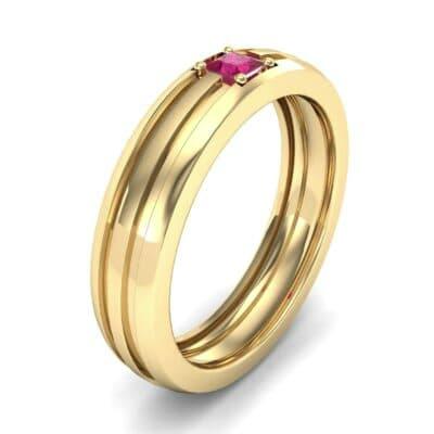 Single Line Round-Cut Ruby Ring (0.19 Carat)