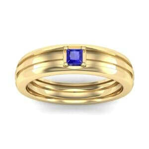 Single Line Round-Cut Blue Sapphire Ring (0.19 Carat)