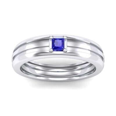 Single Line Round-Cut Blue Sapphire Ring (0.19 Carat)