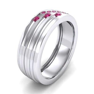 Diagonal Pave Ruby Ring (0.39 Carat)