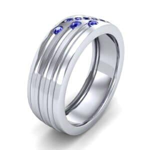 Diagonal Pave Blue Sapphire Ring (0.39 Carat)